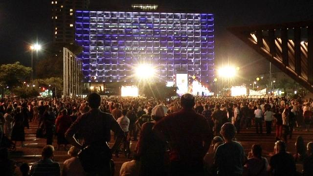 העצרת למען שחרור החטופים אמש בתל אביב